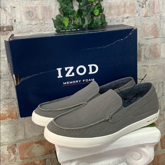 NIB Men's Izod Memory Foam Slip On shoe Trey Grey